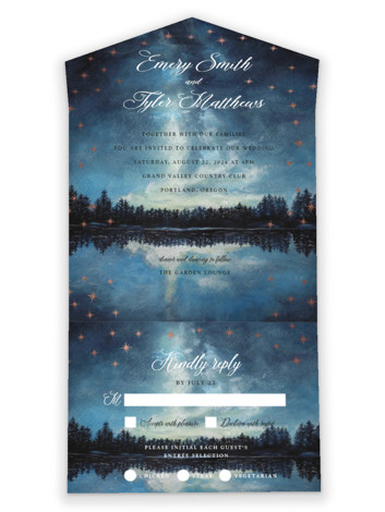 Stellar All-in-One Foil-Pressed Wedding Invitations
