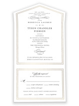 This is a black and white all in one wedding invitation by Kimberly FitzSimons called Eloquence with foil-pressed printing on strathmore in all-in-one.