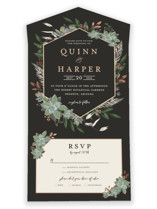 This is a black all in one wedding invitation by Susan Moyal called Succulent Surround with foil-pressed printing on strathmore in all-in-one.