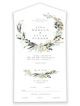 This is a green all in one wedding invitation by Petra Kern called gilded wreath with foil-pressed printing on strathmore in all-in-one.