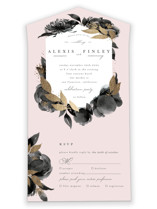 This is a black all in one wedding invitation by Four Wet Feet Studio called Aquarelle with foil-pressed printing on strathmore in all-in-one.