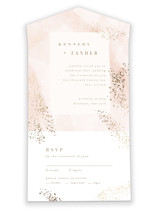 This is a pink all in one wedding invitation by Kristie Kern called Zara with foil-pressed printing on strathmore in all-in-one.