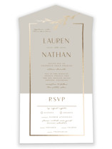 This is a grey all in one wedding invitation by Susan Brown called Burnished with foil-pressed printing on strathmore in all-in-one.