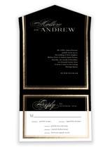 This is a black all in one wedding invitation by Jessica Williams called Formal with foil-pressed printing on strathmore in all-in-one.