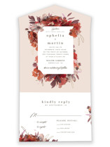 This is a pink all in one wedding invitation by Leah Bisch called Autumn Hymnal with foil-pressed printing on strathmore in all-in-one.