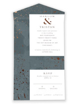 This is a grey all in one wedding invitation by Susan Zinader called mica shimmer with foil-pressed printing on strathmore in all-in-one.