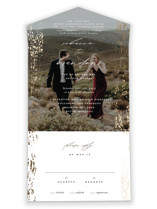 This is a brown all in one wedding invitation by Beth Murphy called Rustic Dream with foil-pressed printing on strathmore in all-in-one.