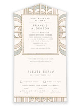 This is a beige all in one wedding invitation by Anastasia Makarova called art deco mood with foil-pressed printing on strathmore in all-in-one.