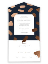 This is a blue all in one wedding invitation by Sweet Annie called Little Brush with foil-pressed printing on strathmore in all-in-one.