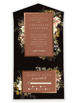 This is a black all in one wedding invitation by Wildfield Paper Co called Midnight Spring with foil-pressed printing on value cover in all-in-one.