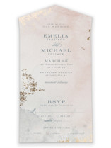 This is a pink all in one wedding invitation by Heather Cairl called Burnished with foil-pressed printing on value cover in all-in-one.
