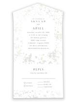This is a beige all in one wedding invitation by carly reed walker called Lustre with gloss-press printing on value cover in all-in-one.