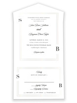 This is a white all in one wedding invitation by Carolyn MacLaren called Side by Side with gloss-press printing on value cover in all-in-one.