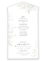 This is a grey all in one wedding invitation by Chris Griffith called Wedding veil with gloss-press printing on value cover in all-in-one.