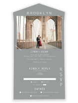 This is a grey all in one wedding invitation by Kristel Torralba called A Place to Remember with gloss-press printing on value cover in all-in-one.