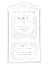 This is a white all in one wedding invitation by Paper Sun Studio called White Wedding Affair with gloss-press printing on value cover in all-in-one.
