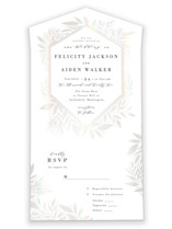 This is a white all in one wedding invitation by Alethea and Ruth called Frosted Frame with gloss-press printing on value cover in all-in-one.