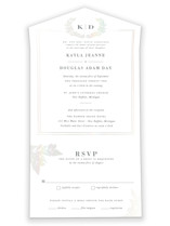 This is a white all in one wedding invitation by Sarah Brown called Subtle with gloss-press printing on value cover in all-in-one.