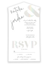 This is a white all in one wedding invitation by Jhudy called modern ampersand with gloss-press printing on value cover in all-in-one.