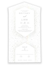 This is a white all in one wedding invitation by Nicole Barreto called Simply Sparkling with gloss-press printing on value cover in all-in-one.
