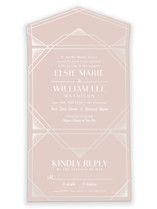This is a pink all in one wedding invitation by Meggy Masters called Radiant Frame with gloss-press printing on value cover in all-in-one.
