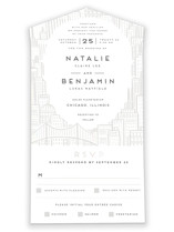 This is a white all in one wedding invitation by Snow and Ivy called City with gloss-press printing on value cover in all-in-one.