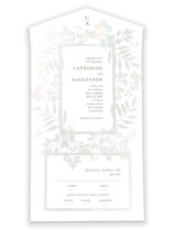This is a white all in one wedding invitation by amanda lawrence called secret border with gloss-press printing on value cover in all-in-one.