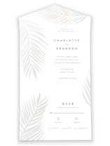 This is a white all in one wedding invitation by Pixel and Hank called Palm Vibes with gloss-press printing on value cover in all-in-one.