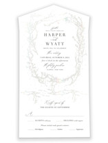 This is a white all in one wedding invitation by Robin Ott called enchanted entanglement with gloss-press printing on value cover in all-in-one.