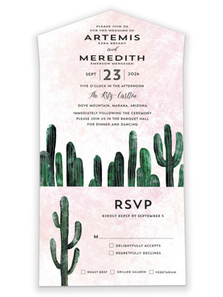 Cacti All-in-One Wedding Invitations