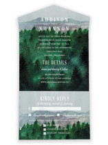 This is a green all in one wedding invitation by Elly called Adventure Awaits with standard printing on strathmore in all-in-one.