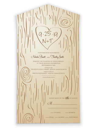 Fall Carving All-in-One Wedding Invitations