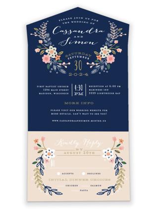 Wildflower Crest All-in-One Wedding Invitations