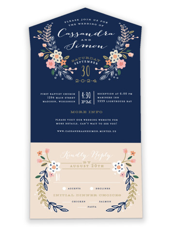 Wildflower Crest All-in-One Wedding Invitations