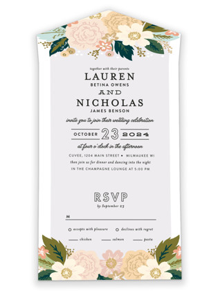 Classic Floral All-in-One Wedding Invitations