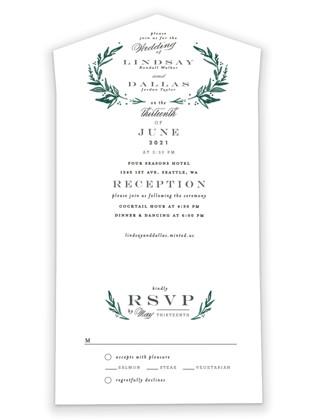 Elegant Crest All-in-One Wedding Invitations