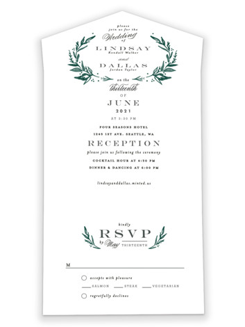 Elegant Crest All-in-One Wedding Invitations