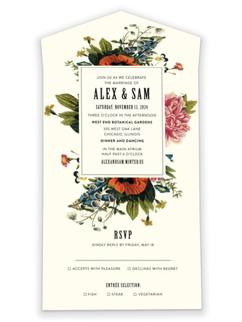 Vintage Garden Invite All-in-One Wedding Invitations