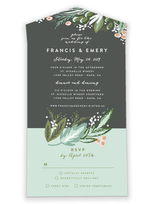 Meadow Breeze All-in-One Wedding Invitations