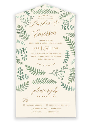 photo of Painted Ferns All In One Wedding Invitations