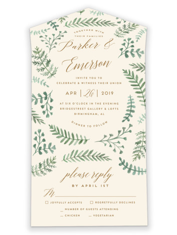 Painted Ferns All-in-One Wedding Invitations