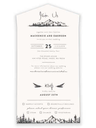 Mountains All-in-One Wedding Invitations