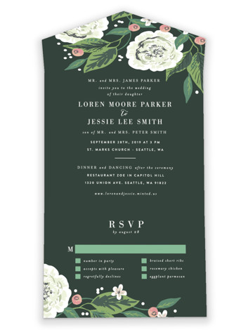 Climbing Rose All-in-One Wedding Invitations