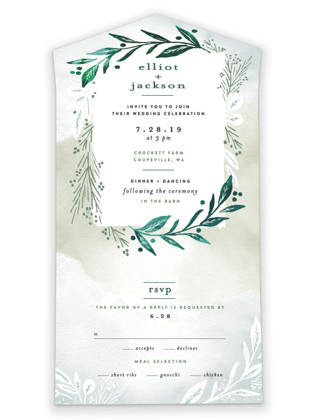 Dip dyed foliage All-in-One Wedding Invitations
