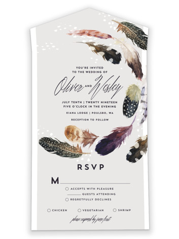Feather Flurry All-in-One Wedding Invitations