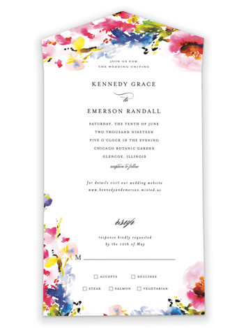Technicolor Flora All-in-One Wedding Invitations