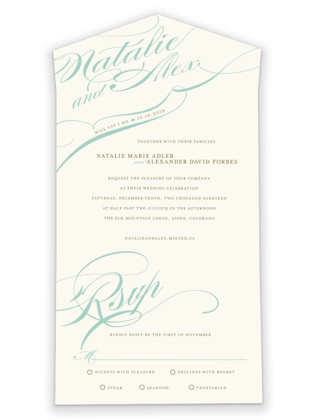 Winter Flourish All-in-One Wedding Invitations