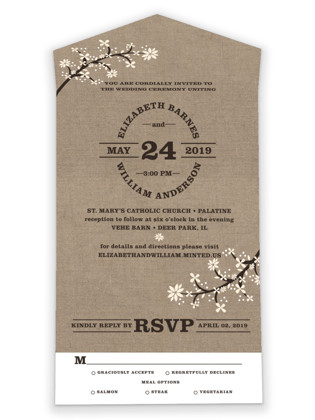 Burlap Bliss All-in-One Wedding Invitations