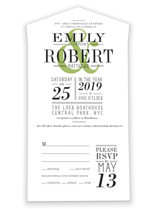 Wed in Type All-in-One Wedding Invitations