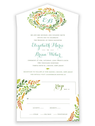 Forest Wreath All-in-One Wedding Invitations